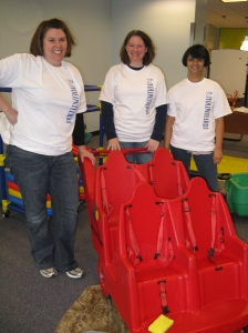 Day Nursery Clarian Center parents spent Saturing morning cleaning toys during the United Way Family Day of Caring at their center.