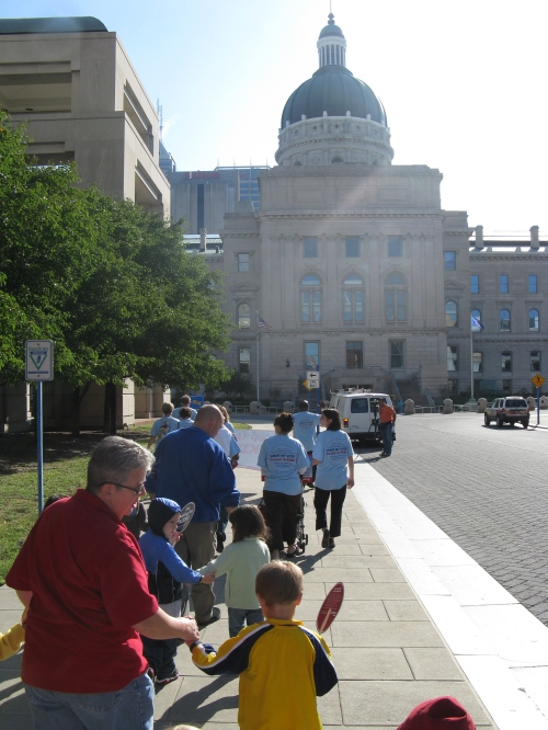 Day Nursery State Center students head toward the capitol on a walk.