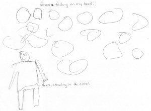"""Snow Falling on my Head"" by Aren P, age 5"