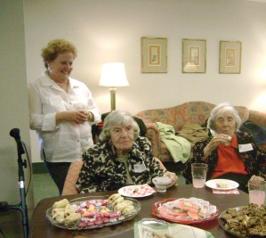 (left to right) Day Nursery Executive Director, Carolyn Dederer; Maude Fenstermaker, Auxiliary member since 1943 and Virginia Wohlgemuth, member since 1946