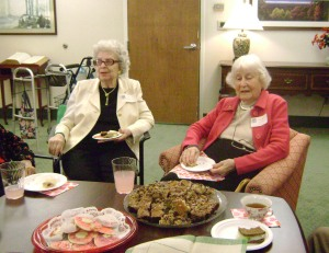 Auxiliary members Sue Harris (left, a member since 1952 and Martha Hill, who joined the Day Nursery Auxiliary in 1941