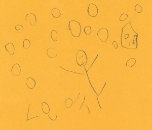 """Leah playing insnow far away from her house"" by Lean P. age 4"