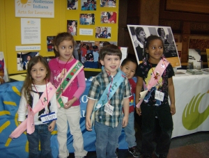 Day Nursery children from our State Government Center wore original pieces of their art to Arts Day at the Indiana Statehouse.