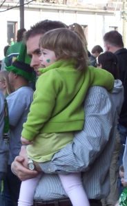 Julia and her Dad enjoyed a great vantage point of the Indianapolis St. Patrick's Day parade from in front of the Federal building.
