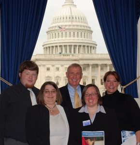 Representatives of the Indiana delegation, including our own Mindy Bennett (second from left) met with Congressman Burton to ensure that our policymakers heard directly from parents.