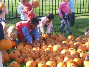 Children at the Day Nursery Clarian Center select a pumpkin to take home from their playground.