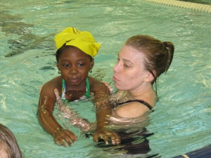 A Day Nursery student from our Guion Road center got one on one instruction at the Swim American program at the Natatorium.
