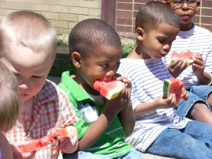 Friday was Watermelon Day on the summer fun schedule-yum!
