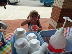 Abby enjoys a snow cone