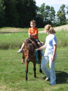 Five year old Zach enjoyed riding Diablo.