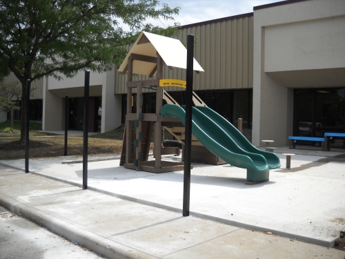 A poured rubber surface will be installed once all the equipment is in place on the preschool playground.