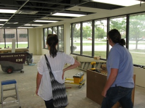Center Director Marla Segal (l) and Office Manager (r) Shannon Taylor check out of the progress on the Preschool 4 classroom.