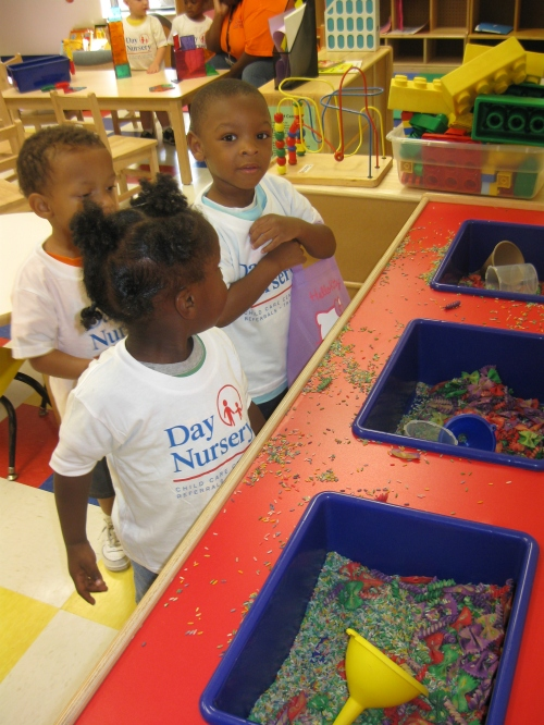 The children discover a new learning center in their classroom
