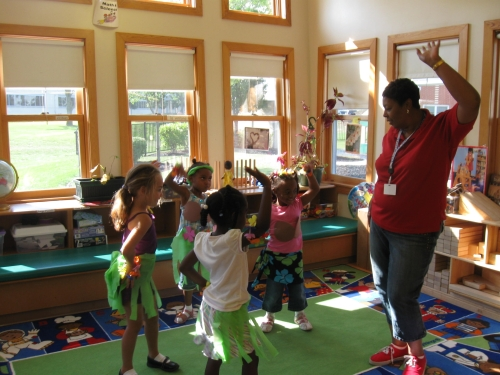 Hula lessons in the Preschool 5 classroom