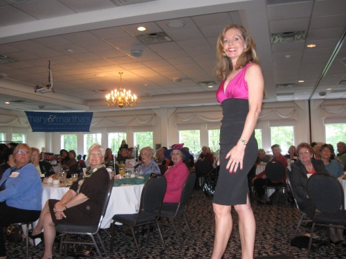 Auxiliary member Kathy Laesch modeled this dress from Mary & Martha's Exceedingly Chic Boutique