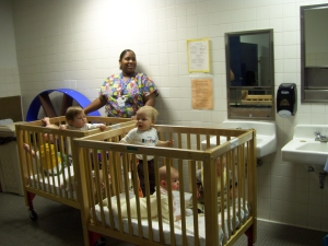 Infants in evacuation cribs during Severe Weather Preparedness Drill