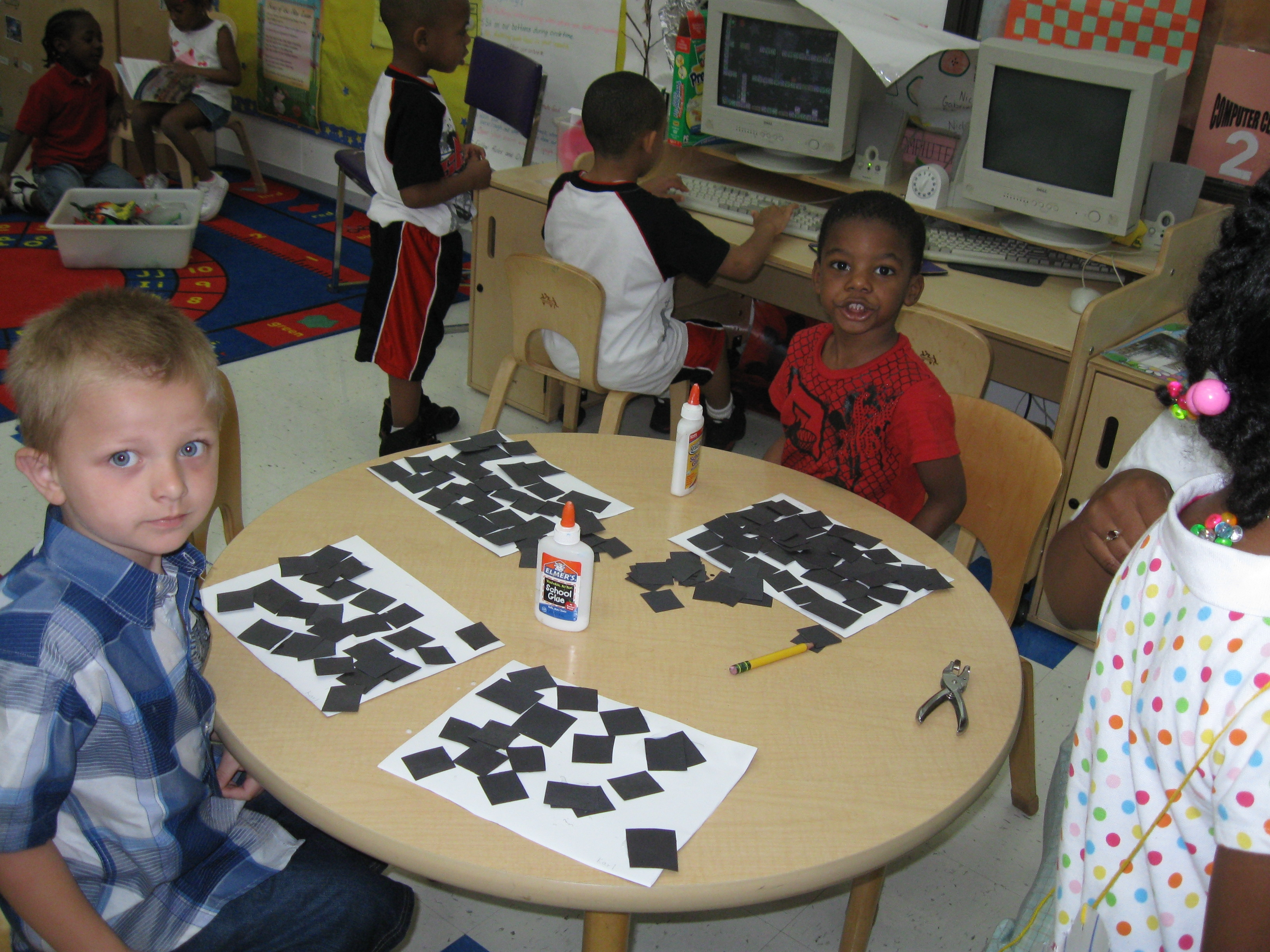 students making checkered flags