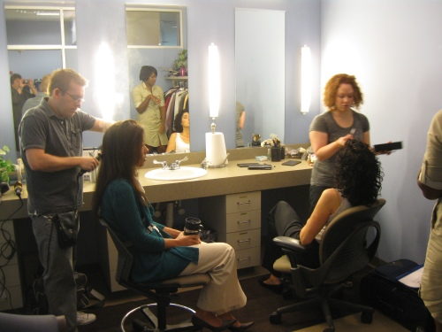 hair and makeup in green room at Fox 59