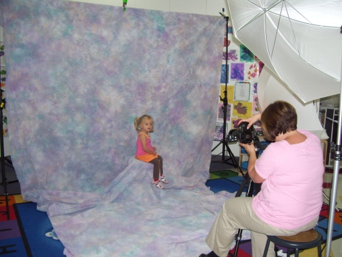 Two and half year olds get school picture taken
