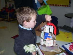 Boy donating money