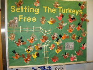 Bulletin board Setting the Turkeys Free