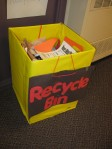Recycling bin outside of preschool classroom