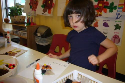 making handprint turkey cards