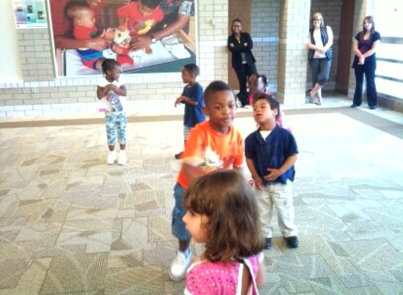 Day Nursery children exercise at Ruth Lilly Health Education Cetner