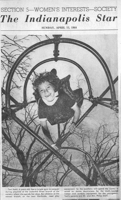 newspaper photo from Indianapolis Star of girl at Day Nursery in 1964