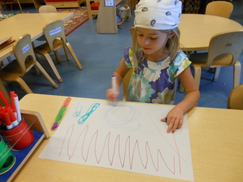 Day Nursery Indianapolis preschool student drawing her treasure map