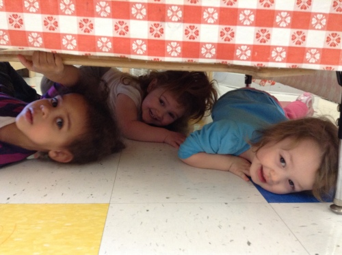 Day Nursery Indianapolis toddlers practicing earthquake drill
