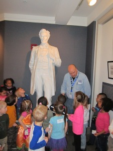 Preschoolers from the Indiana State Government Center visited the Abraham Lincoln exhibit at the Indiana History Center on Friday morning.