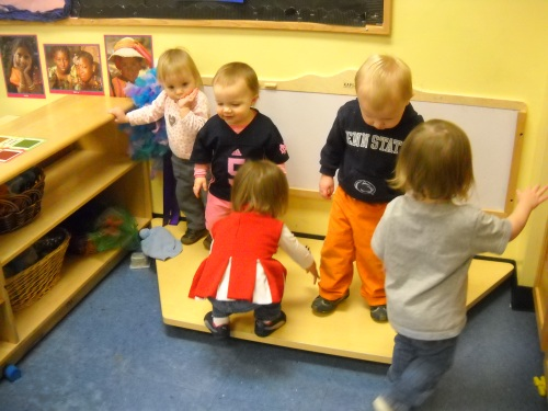 Day Nursery toddlers on their classroom stage