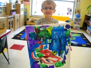 Colorful canvas painted by students at Day Nursery in Hendricks County