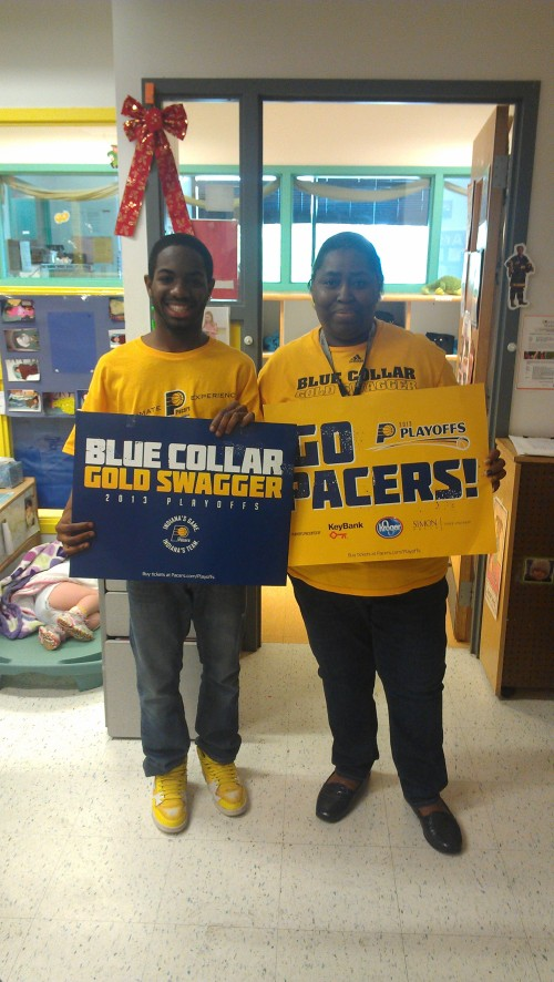 Day Nursery State toddler teachers, Mr. Daniel and Ms. Debbie showing their Indiana Pacers pride!! Beat the Heat!