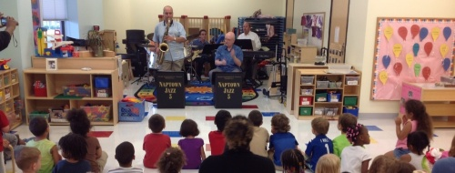 Naptown Jazz playing to class of Day Nursery preschoolers